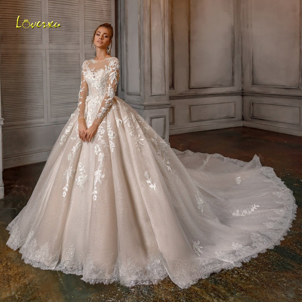 Loverxu Scoop Ball Gown Glitter Wedding Dress 2019 Applique Beading Long Sleeve Lace Up Bride Dress Cathedreal Train Bridal Gown