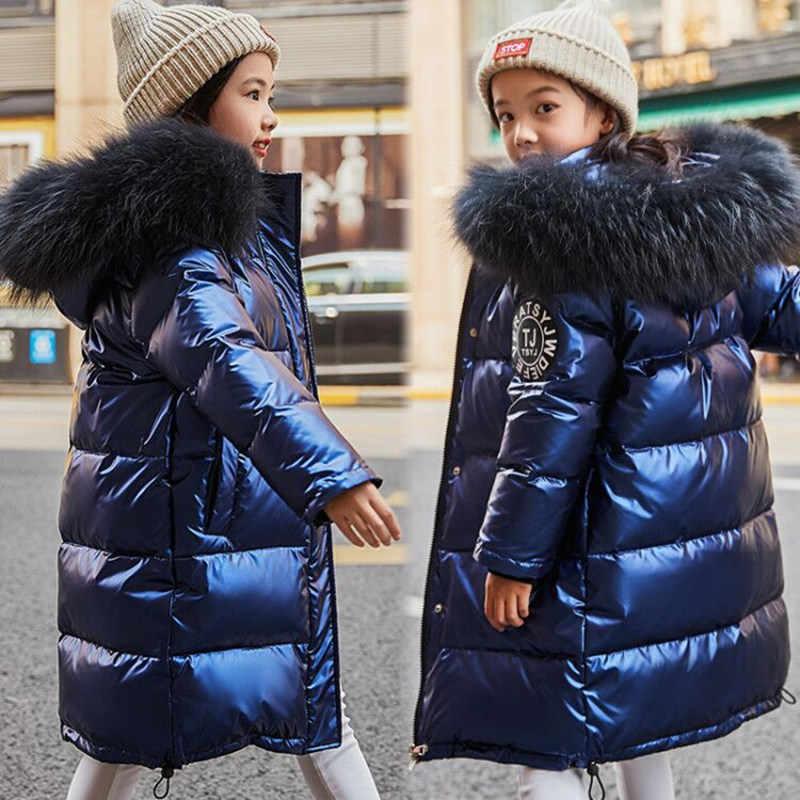 Зимняя куртка-пуховик на температуру до-30 градусов Одежда для девочек 2019 детская одежда верхняя одежда для мальчиков, пальто, парка водонепроницаемый Зимний комбинезон с натуральным мехом