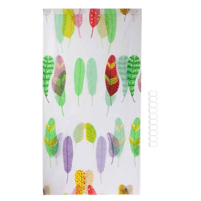 Drop ship cortina de chuveiro quente banheiro impermeável poliéster tecido padrão aleatório & ganchos