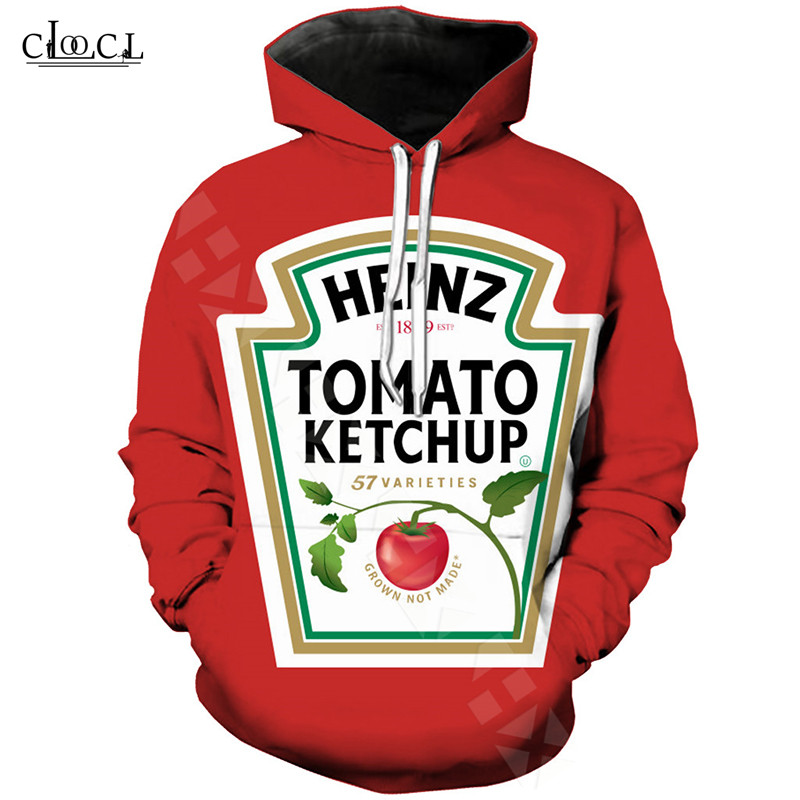 Newest 3D Printing Tomato Ketchup Red Pocket Hoodies Women Men Casual Hooded Streetwear Long Sleeve Sweatshirts Plus Size Hoodie