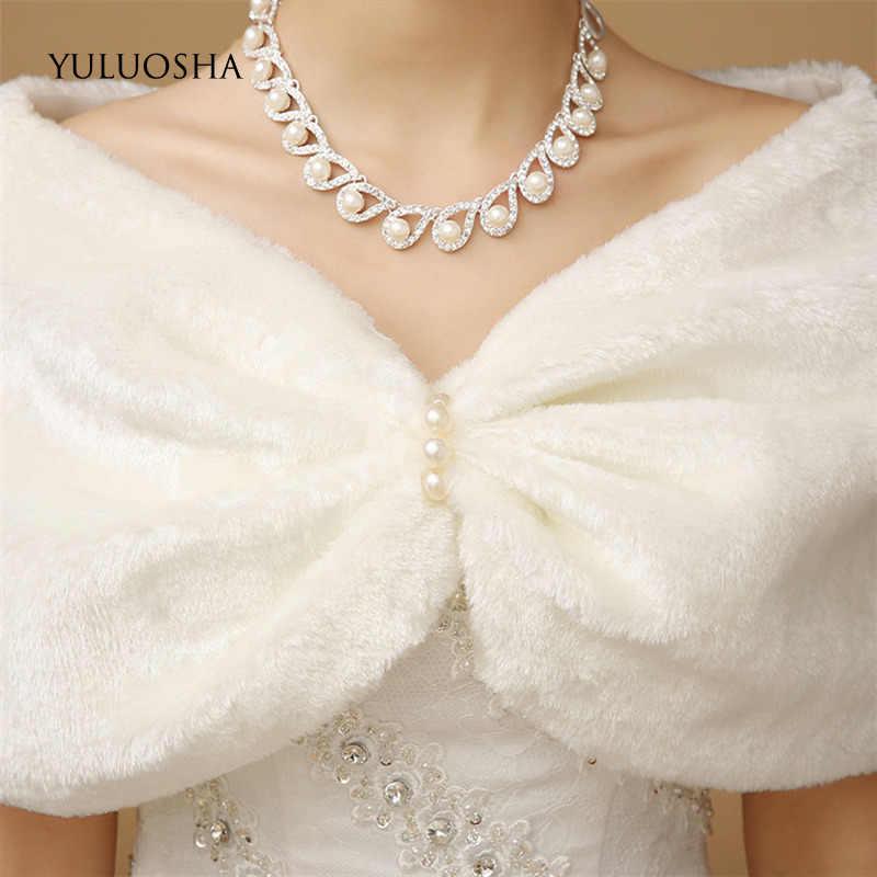 Yuluosha inverno noiva vermelho de pelúcia xale quente vestido de casamento de pele da dama de honra de pelúcia fora do ombro casaco vestido xale pena robe