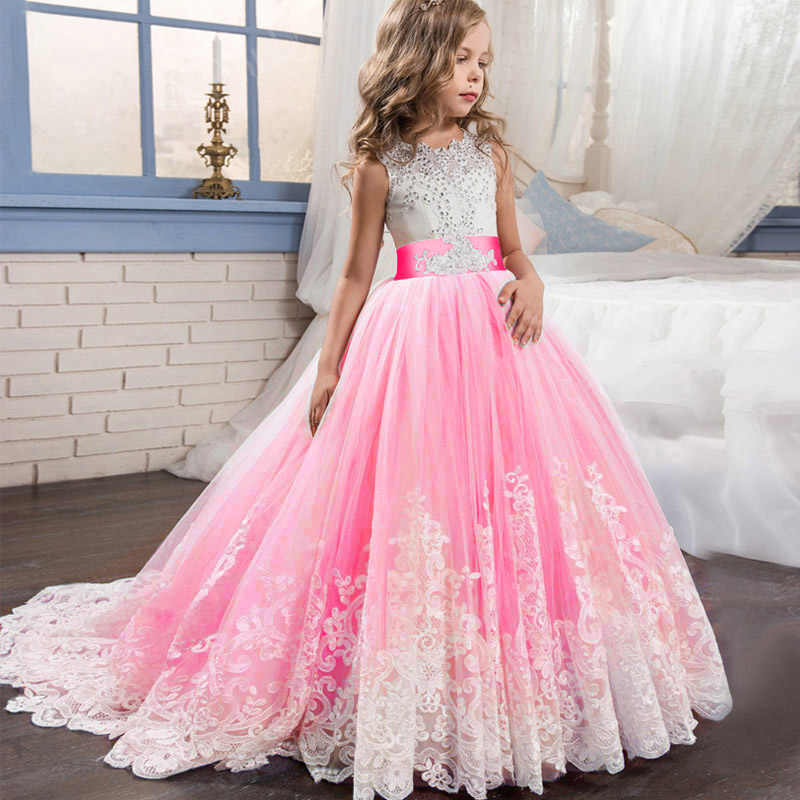Arrastando o vestido de Casamento de Renda Meninas Vestido Crianças Vestidos Para Meninas Crianças Vestido de Princesa Longo Vestido de Dama de honra Vestido de Festa LP-231