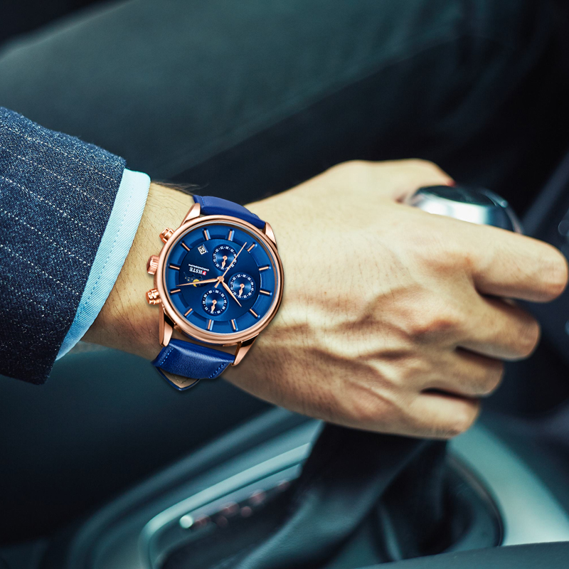 Image 4 - PHSTE Brand Luxury Men Watch Quartz Chronograph Moon Phase Date Waterproof Genuine Leather Blue Rose Gold Male Sport Wrist WatchQuartz Watches   -