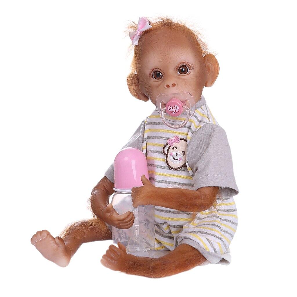Lebensechte 16 Zoll Affe Baby Puppe mit Schnuller und Pflege Flasche, Weiche Silikon, Hand-malerei Details