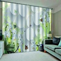 High quality custom 3d curtain fabric stereoscopic curtains white flower butterfly green blackout curtains