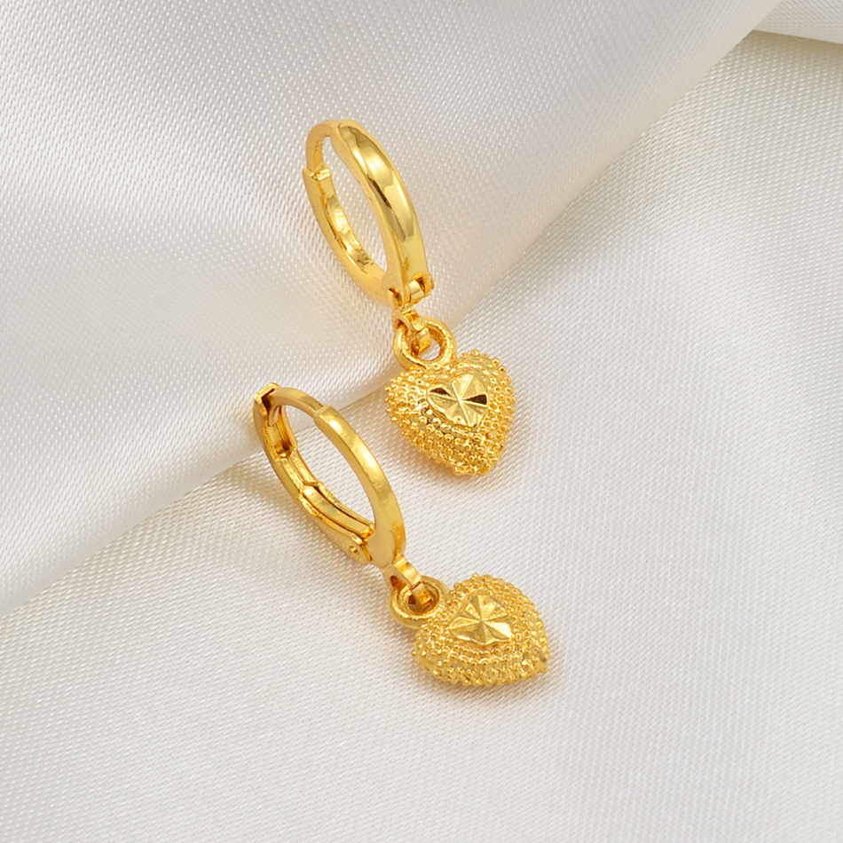 Anniyo Mini Small Size Heart Stud Earrings Women Girls Kids Gold Color Jewelry Birthday Party African Arab Ornaments #002736