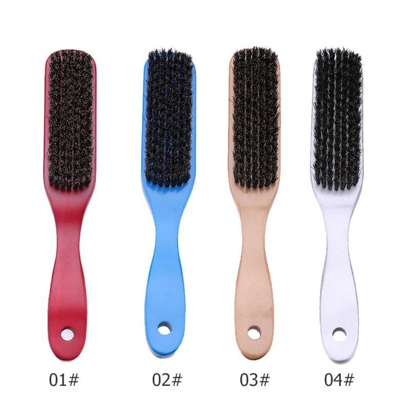 4colors Wood Handle Hair Brush Men's Beard Brush Hard Boar Bristle Beard Comb Barber Hair Styling Hairdressing Tools Brushes