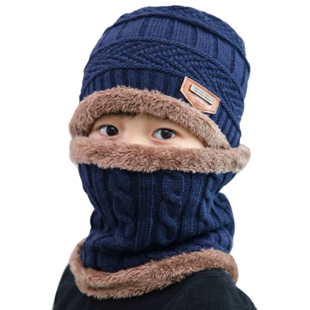 Boys Knitted Hat with Scarf 1