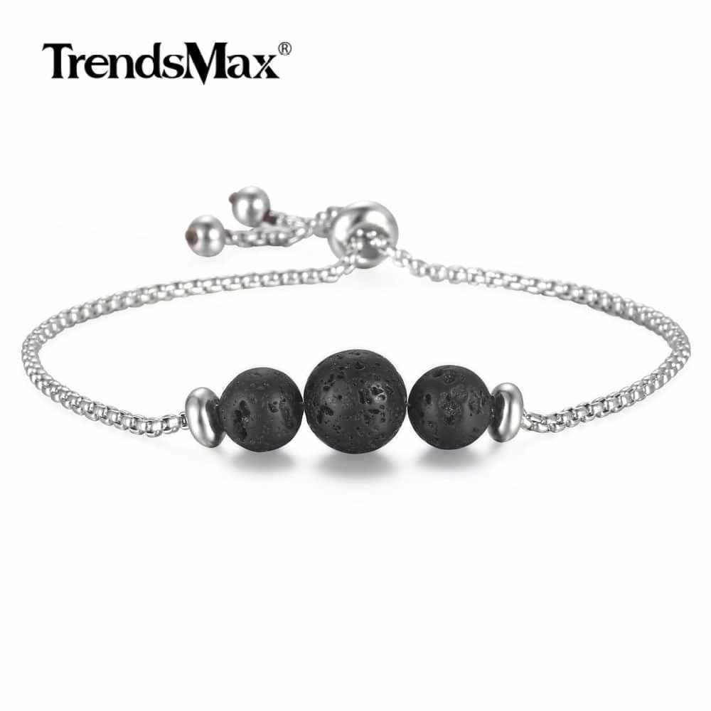 Trendsmax regulowana długość bransoletka Bangle dla mężczyzn kobiet czarny dyfuzor olejków eterycznych srebrny ze stali nierdzewnej biżuteria DB208