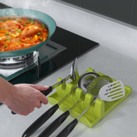 Soporte multifunción para cuchara, soporte de plástico para cucharón, pala, cubierta para olla, espátula, estante soporte para cocina, organizador de cocina