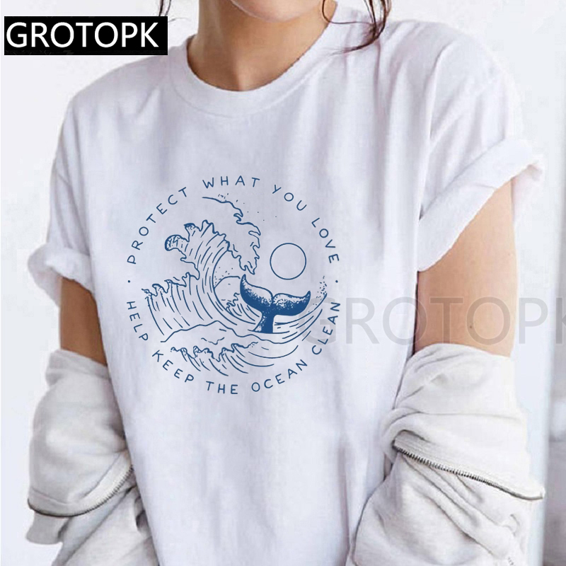 Protect What You Love Help Keep The Ocean Clean Eco T-shirts Streetwear Harajuku Tumblr Womens T Shirt Summer Casual Clothes(China)