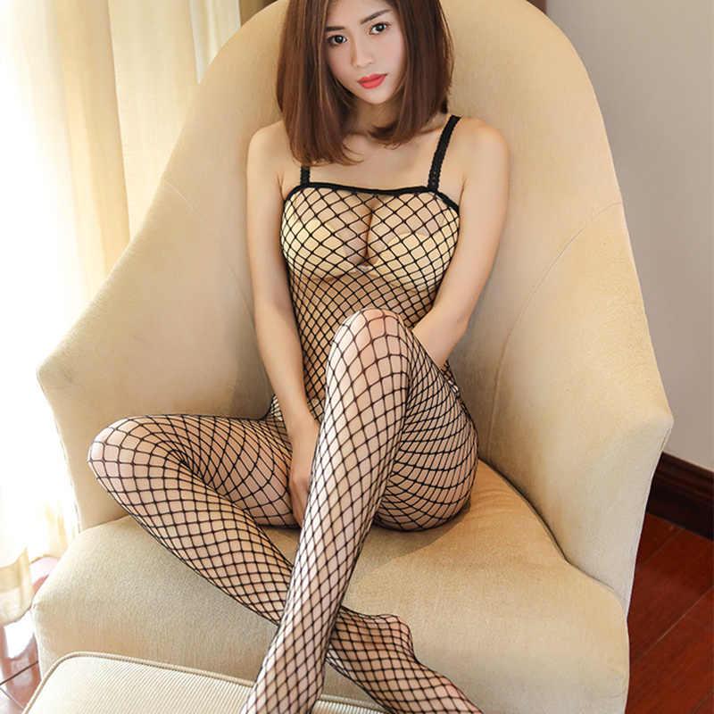 Mais tamanho lingerie sexy lingerie erótica quente para as mulheres malha oca teddy bebê boneca sexy lingerie fishnet trajes sexuais roupa interior