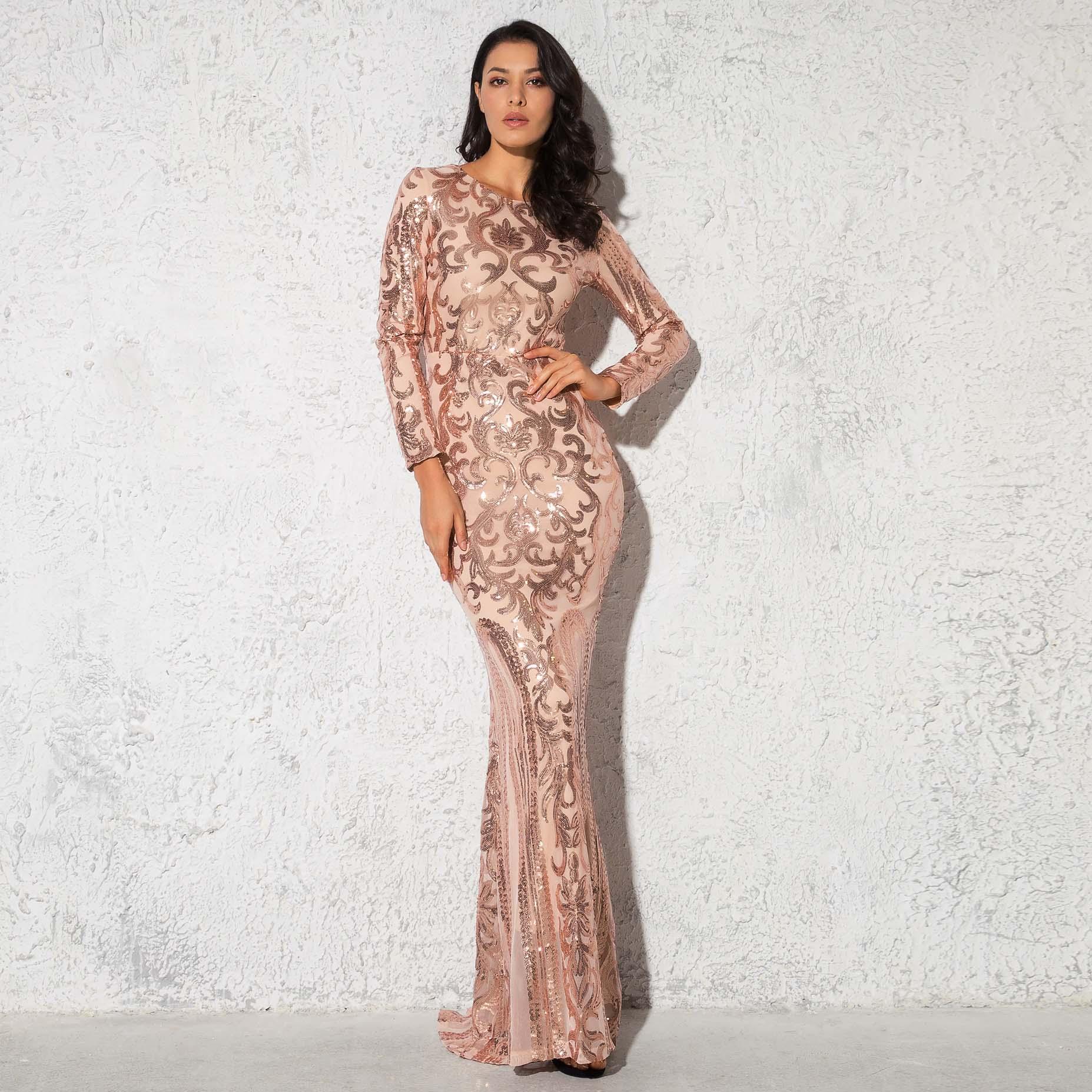 Extensible à manches longues robe Maxi géométrique pailleté moulante robe de soirée O cou dos fermeture éclair longueur de plancher robe
