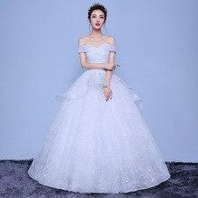 فستان زفاف 2019 جديد مثير الخامس الرقبة الدانتيل يصل الكرة ثوب قبالة الكتف فساتين زفاف بسيطة Vestido De Noiva