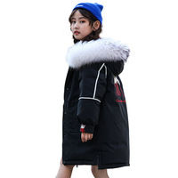 Girl winter long down jacket The girl wears a warm down jacket on both sides Girl padded windproof down jacket