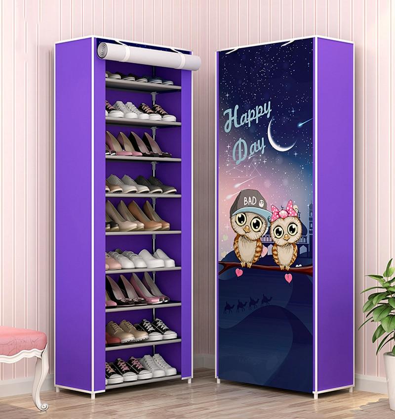 10 Layers Shoe Rack  Storage Nonwoven Fabric Shoes Cabinet Floor Dustproof Home Shoes Organizer Shlef Furniture Shoes Closet