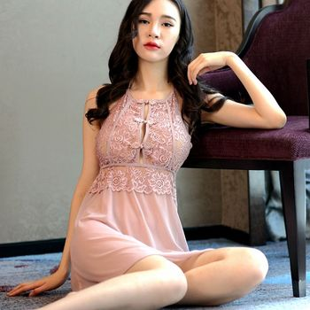 Womens Sexy Lace Nightgown Sexy Sleepwear Gauze Perspective Hanging Neck Nightdress Cheongsam Ladies Chest Button Night Dress ladies sexy nightdress straps perspective pattern sexy sleepwear detachable chest pad lace sexy ladies home service