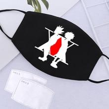 Hunterxhunter impressão máscaras lavável respirável pm2.5 ativado filtro de carbono máscara de papel ajustável dustproof anti haze máscara