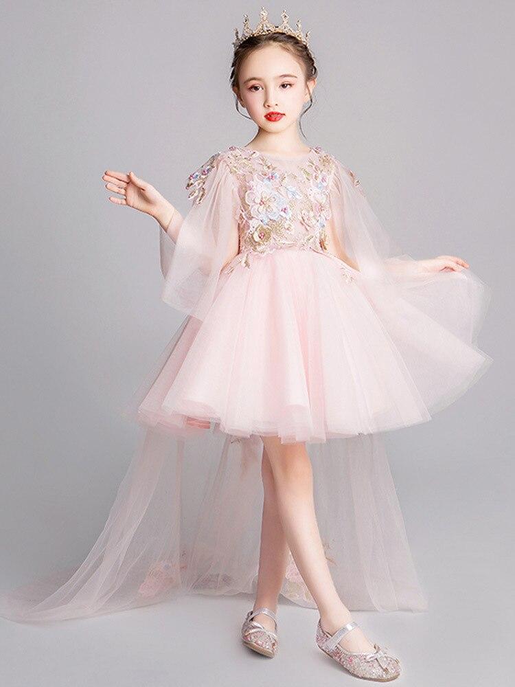Girls Western Style Birthday Princess Dress Flower Boys/Flower Girls Wedding Dress Puffy Yarn Children Tailing Catwalks Evening