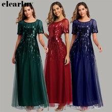 Evening Dress Burgundy Long Elegant Formal Dress HQ003 2020 Short Sleeve Robe De Soiree Stylish Plus Size Party Dress for Women stylish argyle printed long sleeve belted maxi dress for women