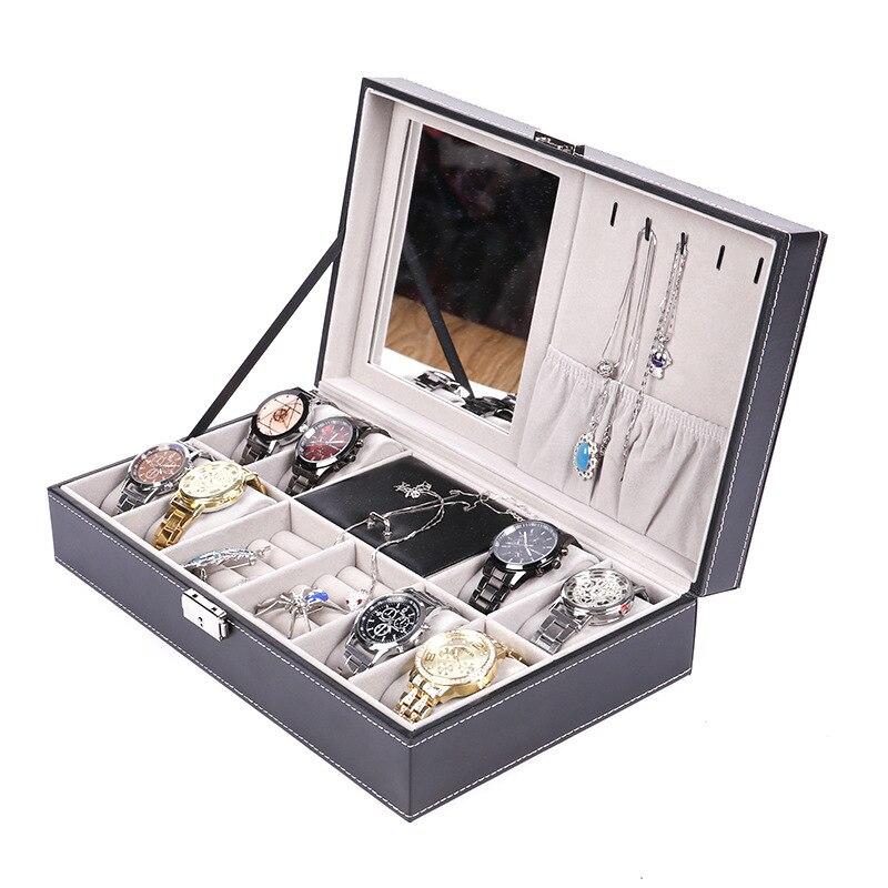 PU Leather 8-Bit Watch + 2 Lattice Jewlery Box Top Grade Watch Box Necklace Ring Storage Gift Box