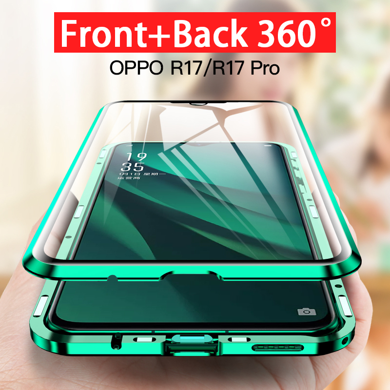 360 Tempered Glass Phone Case on for <font><b>Oppo</b></font> A11 A11X A5 A9 2020 A5s A7 <font><b>F9</b></font> V17 Pro Y17 Y3 Realme Q 5 Pro Reno ace 3D magnetic <font><b>cover</b></font> image