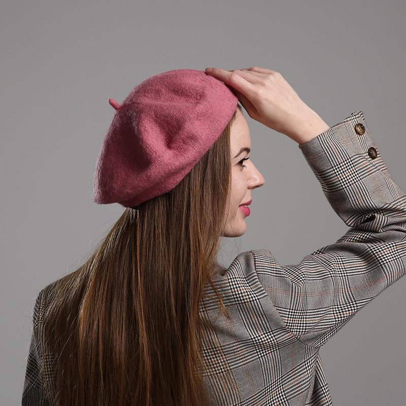 Spring Autumn Vintage Women Berets Wool Solid Color Girls Beret Hat Female Bonnet Caps Painter Style Hat