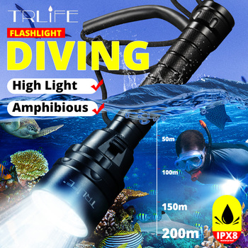 Underwater 200m LED Diving Tactical Flashlight Super Bright  Waterproof L2 Scuba Dive Torch White Use 18650 Battery 5/1 LED super bright led diving torch 4x xml t6 led 100m underwater 6000 lumens scuba diving flashlight dive lamp battery charger
