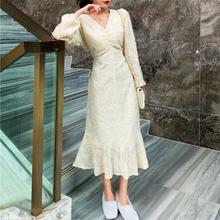 Francuska sukienka trąbka z długim rękawem jesień ciepłe kobiety dekolt w szpic sukienka wróżki 2020 wesele wieczór jednoczęściowy odzież damska tanie tanio CN (pochodzenie) Poliester Lanon Trąbka mermaid Osób w wieku 18-35 lat TMC227 V-neck Pełna REGULAR WOMEN NONE Pani urząd