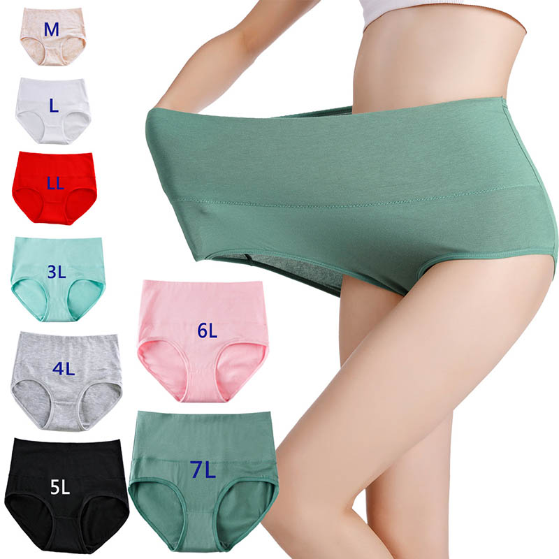 M-7XL Large Size Briefs Womens Underpants Solid High Waist Panties Cotton Underwear Soft Breathable Summer Female Intimates