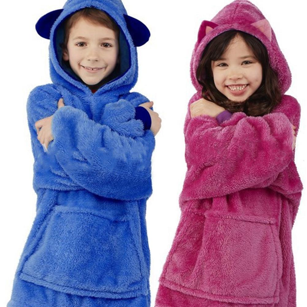 Children's Blanket Sweatshirt Pet Shaped Wearable Hoodie Nightdress Oversized Sweatshirt Winter Home Service Clothing For Kids