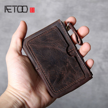 AETOO Retro Head cowhide Card Pack driver's license handmade leather small wallet