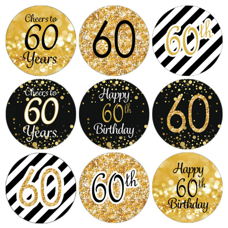 216pcs <font><b>50th</b></font> 60th <font><b>Birthday</b></font> <font><b>Party</b></font> Favor Stickers Cheers to 50 60 Years Old Shiny Foil DIY Gift Packaging Decorations Label image