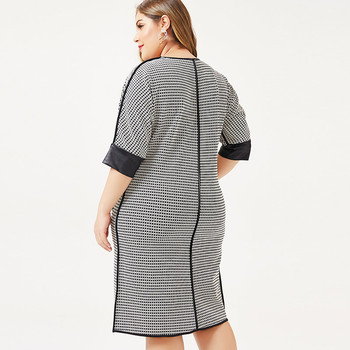 2019 autumn womens Plus Size dress  Houndstooth fashion Ladies femal elegant midi dresses woman party night 2