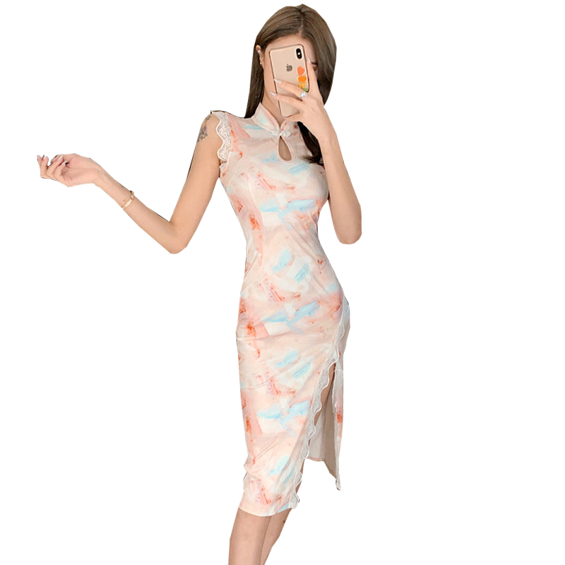 2020 Chinese Dress Cheongsam Lingerie Sexy Qipao Oriental Vestido Chino Slanted Fork Lace Sleeveless Hollow Out Printed Qi Pao