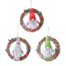 Faceless doll little doll rattan ring pendant Xmas New Year DIY Christmas Doll wreath ornaments Christmas window decoration 1PCS new year 3pcs cute christmas faceless gnome doll nice appearance rattan ring pendant cute home window hanging xmas decoration