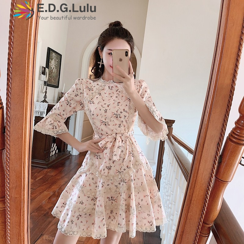 EDGLuLu flower <font><b>dresses</b></font> women 2019 vintage trumpet sleeve waist lace-up print A-line pleated cascading ruffle <font><b>dress</b></font> image