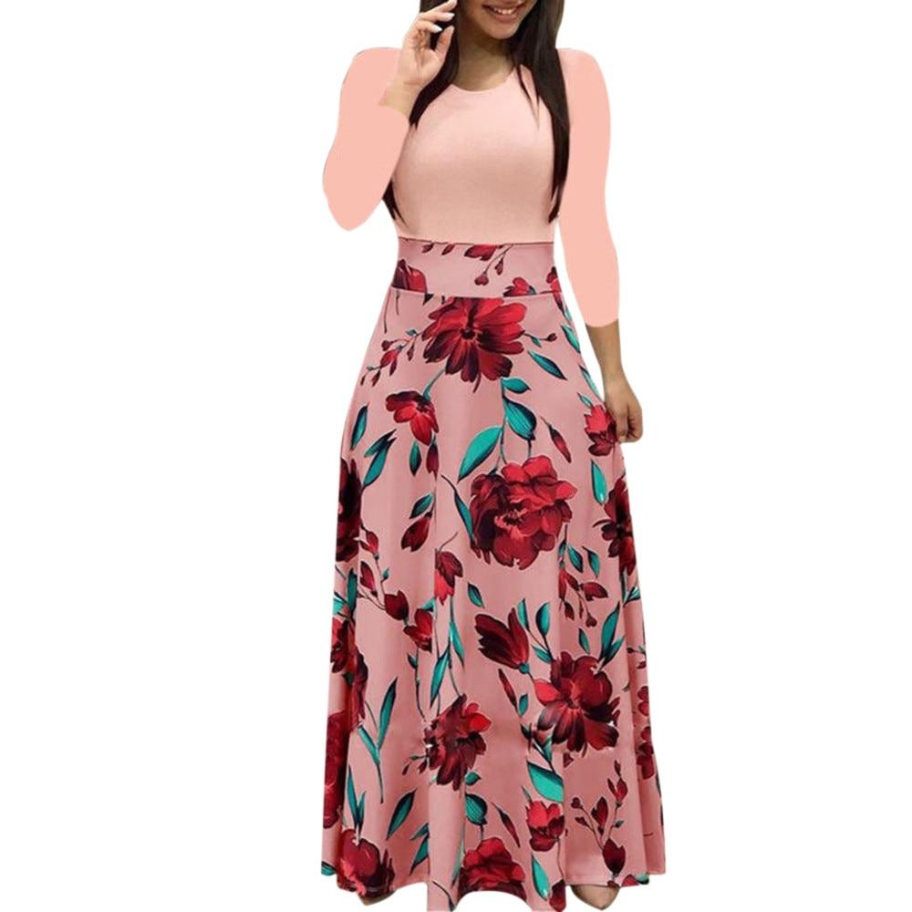 Размера плюс Длинное Элегантное Платье с принтом вечерние платье в горошек, платье в горошек Для женщин весна короткий рукав платье женские...