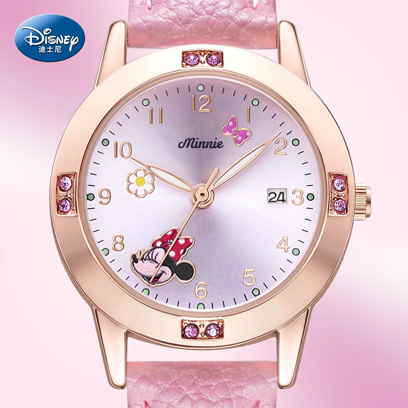 Disney MINNIE MOUSE Donald Duck Children Boy Girl Wristwatch Student Watches Pu Waterproof Calendar Luminous Japan Quartz Clocks