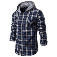 Puimentiua Men's Autumn Shirt Casual Shirt Top Long Sleeve Plaid Hooded Pocket Shirt Top Slim Fit Shirt Top 2019
