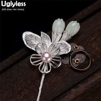 Uglyless Hollow Silver Flower Hair Decorations for Women Natural Jade Magnolia Pearl Hair Sticks 925 Silver Leaf Hair Forks Gems