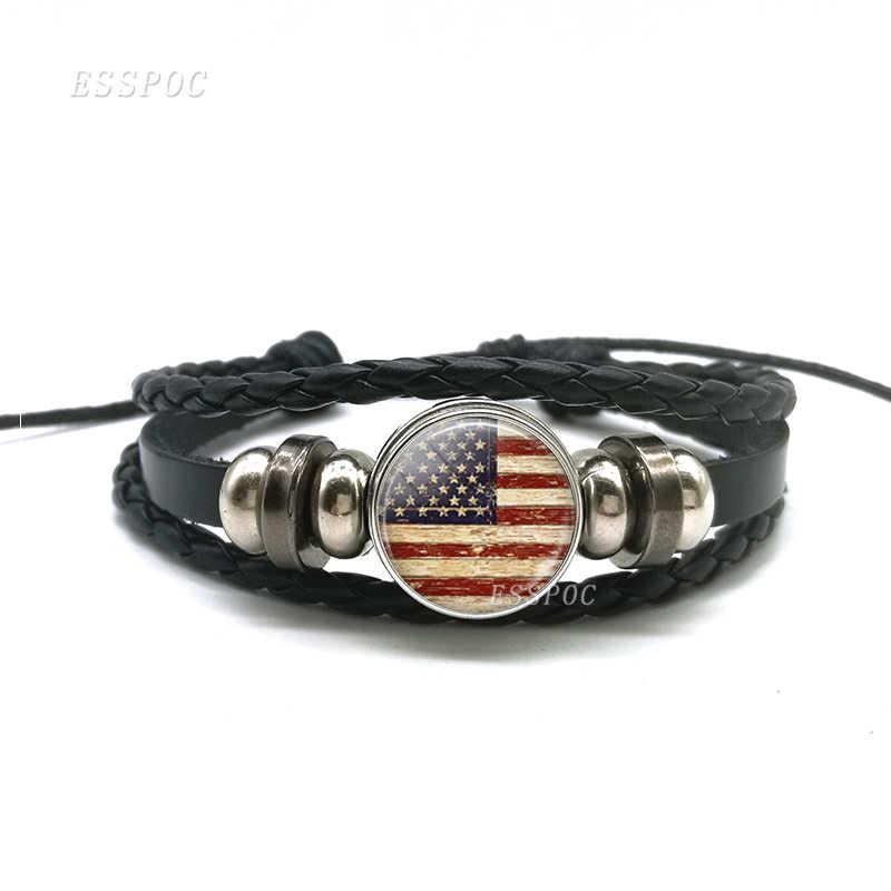 Flagi narodowe hiszpania turcja USA urok czarny guzik bransoletka bransoletki skórzana pleciona lina Punk Style kobiety prezent dla mężczyzny hurt