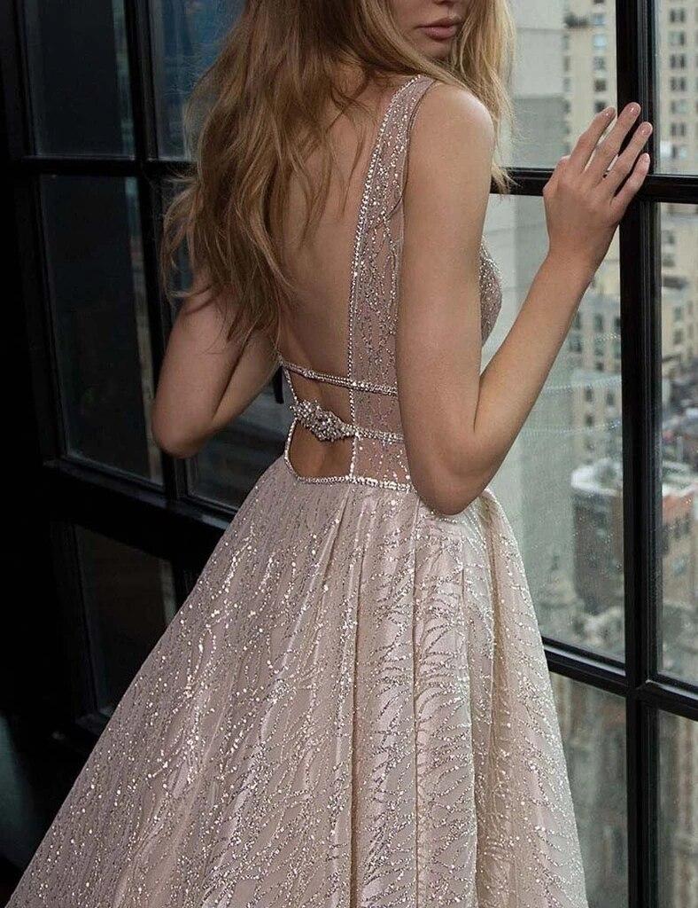 Image 5 - Long Dress For Evening Charming Deep V Neck A Line Floor Length Shiny Formal Dresses Custom Made Party Gowns HB005Evening Dresses   -