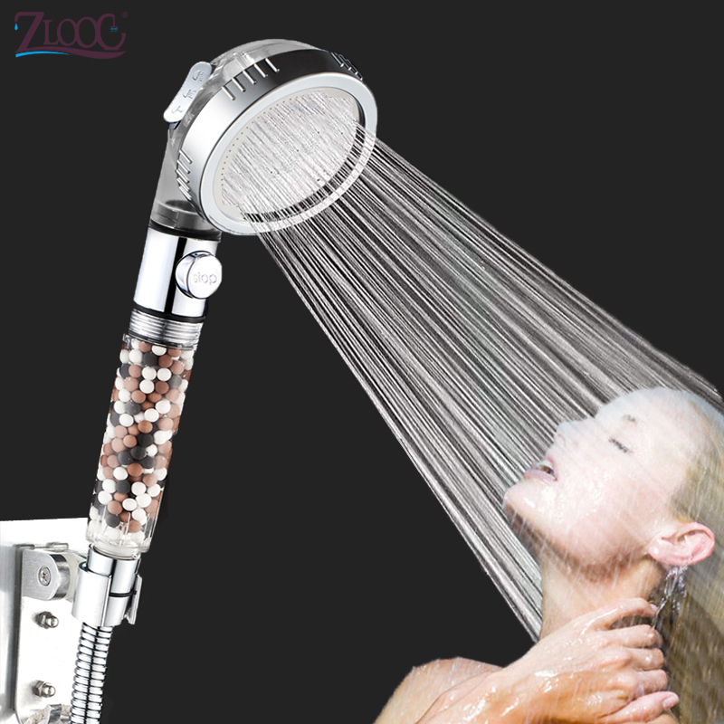 Zloog New Tourmaline Filter Balls Water Saving 3 Modes Adjustable SPA Shower Head Switch Button High Pressure Spry Shower