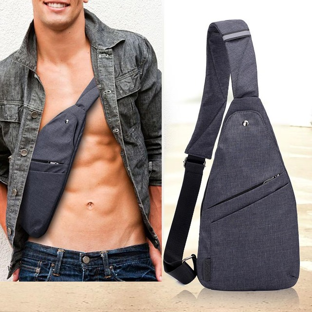 DIENQI Anti theft Chest Bag Male Thin Chest Pack Holster Men Bag Sling Personal Pocket Pauch Purse Man Cross Body Strap Hand Bag