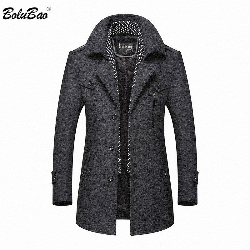 BOLUBAO Men Winter Wool Coat 2019 Men's New Casual Brand Solid Color Wool Blends Woolen Pea Coat Male Trench Coat Overcoat