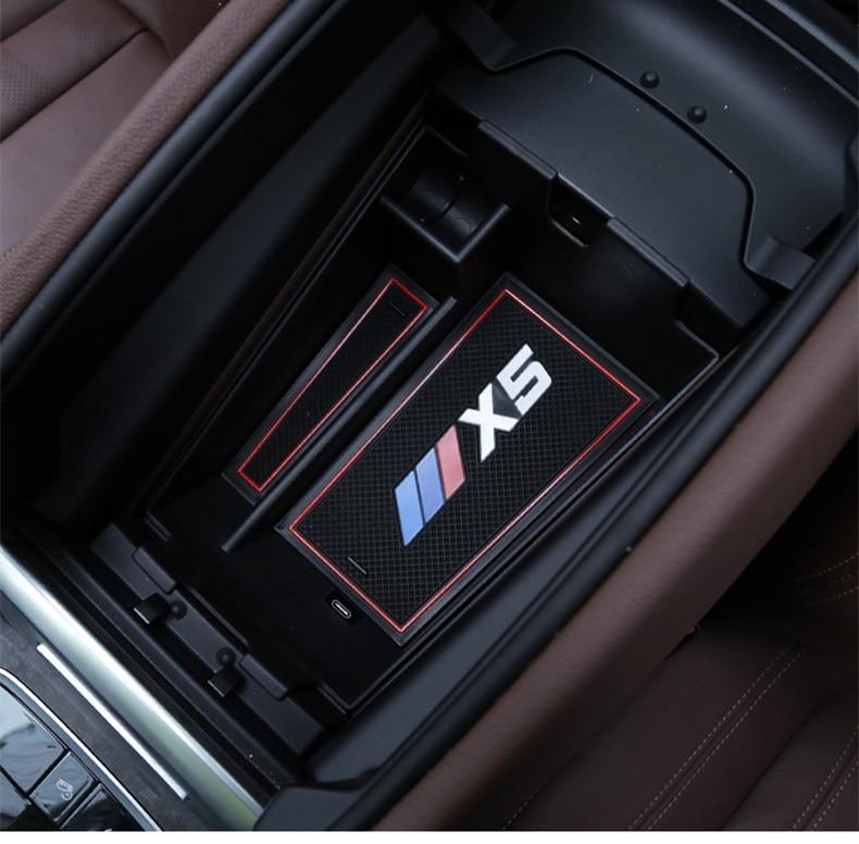 Центральный автомобильный подлокотник для хранения Коробка для 2019 BMW X5 G05 Укладка Уборка автомобиля противоскользящие резиновые аксессуар...