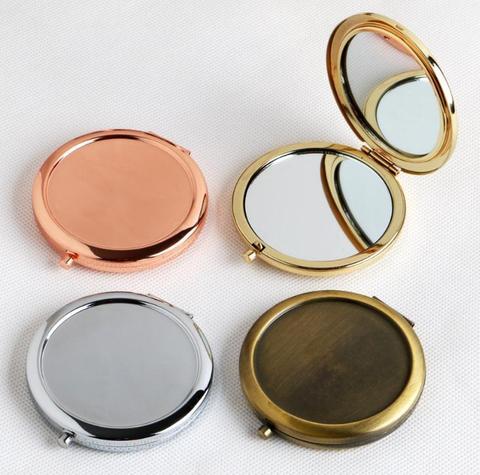 Rodada Espelho Compacto Em Branco Plain Cor de Rosa de Ouro Para DIY Presente Espelho