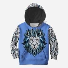 Худи с 3d принтом льва семейный костюм футболка пуловер на молнии