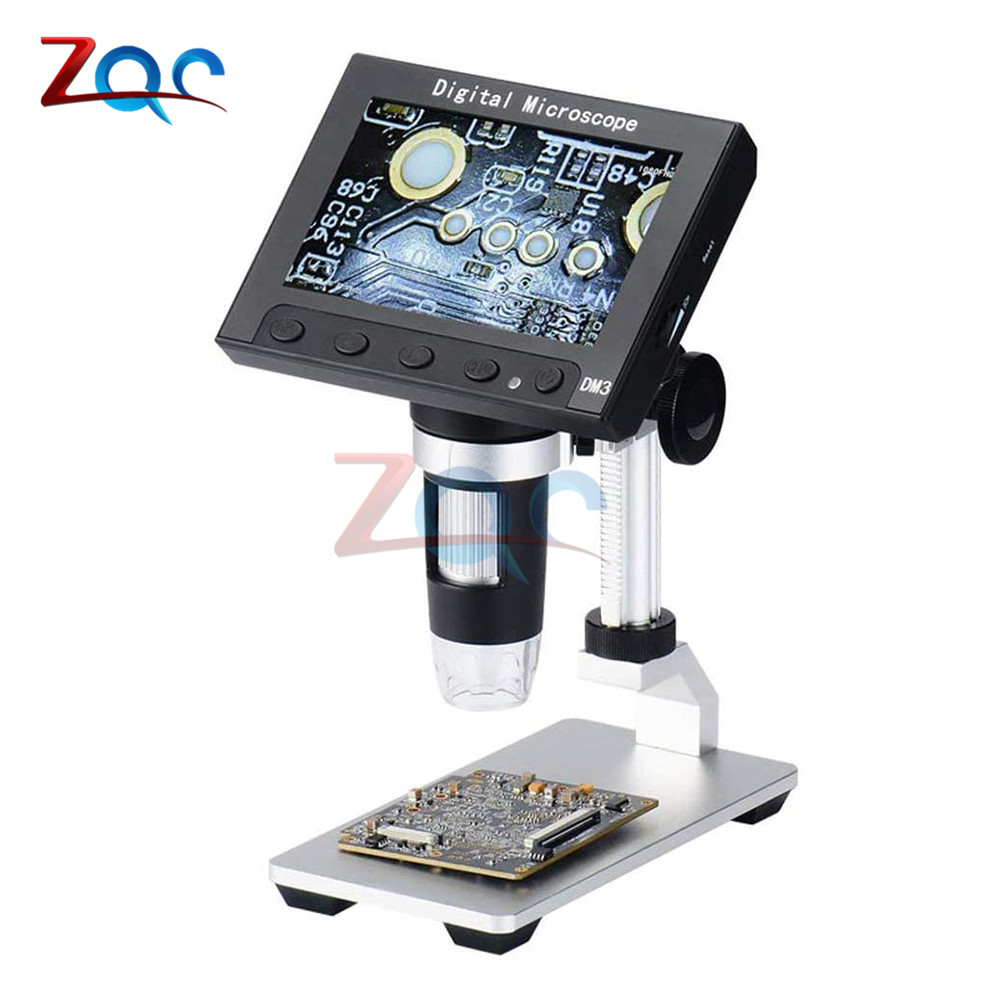 <font><b>4.3</b></font> <font><b>inch</b></font> <font><b>LCD</b></font> Digital Microscope 50X-1000X Magnification Endoscope with Aluminum Alloy Stand 8 LED Light Video Camera Microscope image